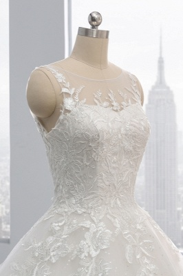 Ball Gown Jewel Tulle Ruffles Sleeveless Lace Wedding Dresses_6