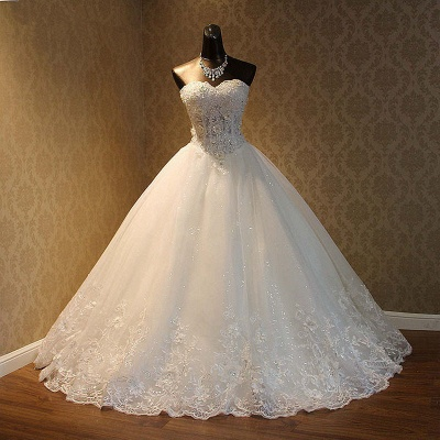 Strapless Tulle Sequined Ball Gown Wedding Dresses_4