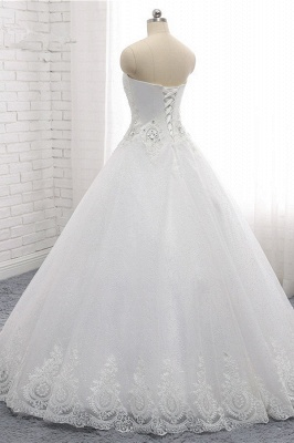 A-Line Lace Appliques Sleeveless Tulle Rhinestones Wedding Dresses_4