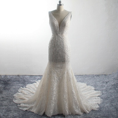 Sparkly Sequins Sleeveless Mermaid Long Bridal Gowns_6