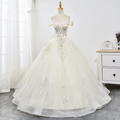 Champagne Tulle Ball Gown Lace Wedding Dresses Sleeveless_7