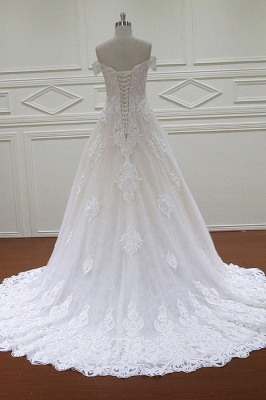 Off-the-Shoulder Sweetheart White Tulle Lace Wedding Dresses_2