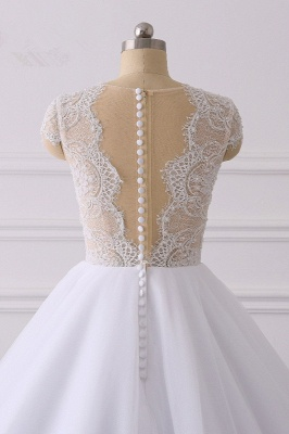Jewel Tulle Ruffles LaceShort-Sleeves Bridal Gowns_6