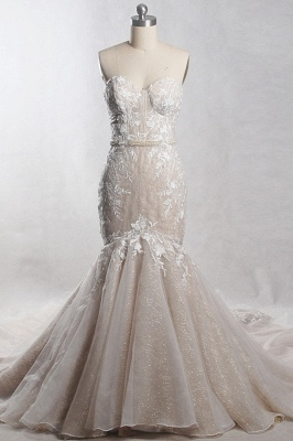 Strapless Tulle Sequins Mermaid Sleeveless Wedding Dresses