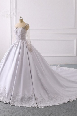 Satin Tulle Long Sleeves Ruffles Lace Bridal Gowns Online_3