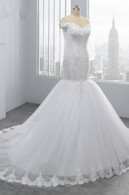 Off-the-Shoulder White Mermaid Lace Sweetheart Tulle Wedding Dresses_3