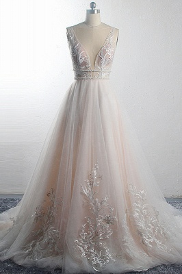 Ruffles Deep-V-Neck Sleeveless Tulle Wedding Dresses