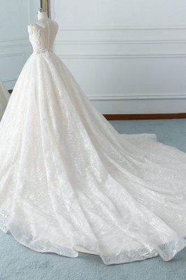 A-Line Jewel White Tulle Lace Bridal Gowns Online_4