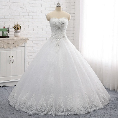A-Line Lace Appliques Sleeveless Tulle Rhinestones Wedding Dresses_6