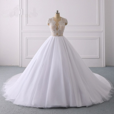 Jewel Tulle Ruffles LaceShort-Sleeves Bridal Gowns_7