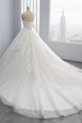 Ball Gown Jewel Tulle Ruffles Sleeveless Lace Wedding Dresses_4