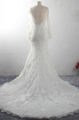 Long Sleeves Mermaid Appliques Tulle Lace Wedding Dresses_2