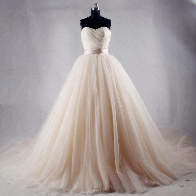 Ball Gown Strapless Sweetheart Tulle Wedding Dresses_3