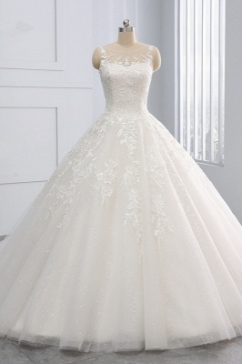 Ball Gown Jewel Tulle Ruffles Sleeveless Lace Wedding Dresses_1