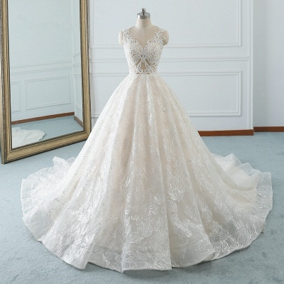 A-Line Jewel White Tulle Lace Bridal Gowns Online_7