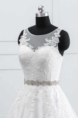 A-Line Appliques Beadings Tulle Lace Wedding Dresses_5