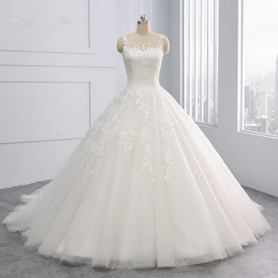Ball Gown Jewel Tulle Ruffles Sleeveless Lace Wedding Dresses_8