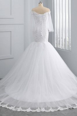 Off-the-Shoulder White Mermaid Lace Sweetheart Tulle Wedding Dresses_2