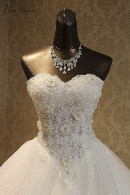 Strapless Tulle Sequined Ball Gown Wedding Dresses_2