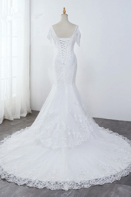 Sequined White Mermaid Lace White Wedding Dresses_2
