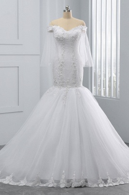 Off-the-Shoulder White Mermaid Lace Sweetheart Tulle Wedding Dresses_1