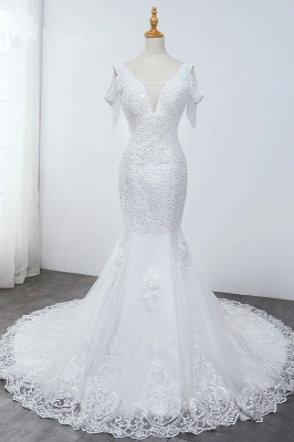 Sequined White Mermaid Lace White Wedding Dresses_1