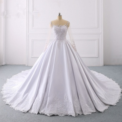 Satin Tulle Long Sleeves Ruffles Lace Bridal Gowns Online_7