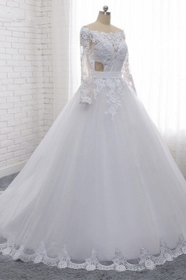Off-the-Shoulder Long Sleeves Lace Tulle Wedding Dresses_3