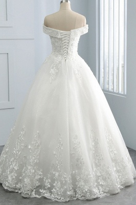 Off-the-Shoulder Tulle Appliques Sleeveless Lace Bridal Gowns_2
