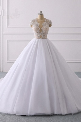 Jewel Tulle Ruffles LaceShort-Sleeves Bridal Gowns_1
