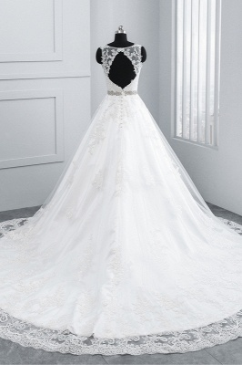 A-Line Appliques Beadings Tulle Lace Wedding Dresses_2