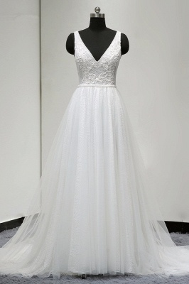 V-Neck Sleeveless Ruffles White Tulle Lace Wedding Dresses