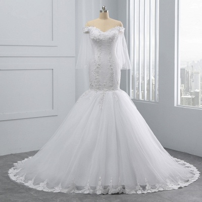 Off-the-Shoulder White Mermaid Lace Sweetheart Tulle Wedding Dresses_7