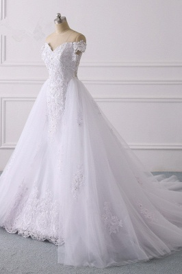 Off-the-Shoulder Sleeveless Tulle Lace Wedding Dresses_3