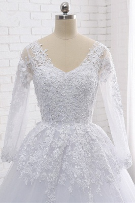 Long Sleeves Tulle Lace Ball Gown V-Neck Sequins Wedding Dress_5