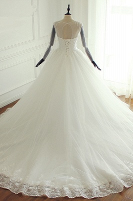 Jewel Long Sleeves Pearls Lace Tulle Wedding Dresses_2
