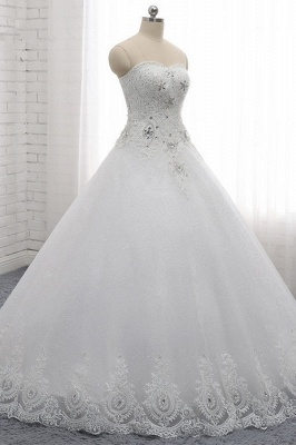 A-Line Lace Appliques Sleeveless Tulle Rhinestones Wedding Dresses_3