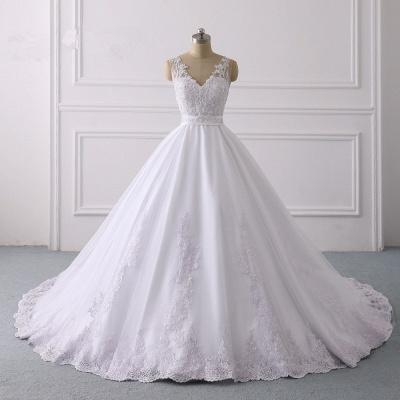 V-Neck Satin Tulle Lace White Sleeveless Bridal Gowns_6