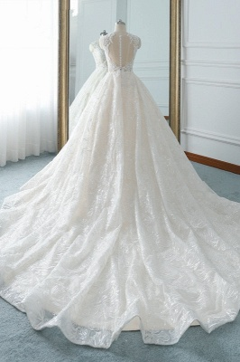 A-Line Jewel White Tulle Lace Bridal Gowns Online_2