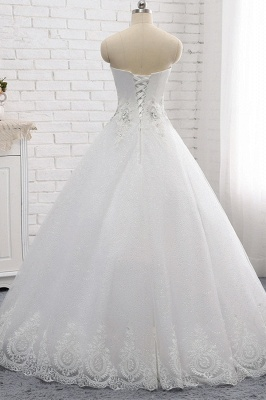 A-Line Lace Appliques Sleeveless Tulle Rhinestones Wedding Dresses_2