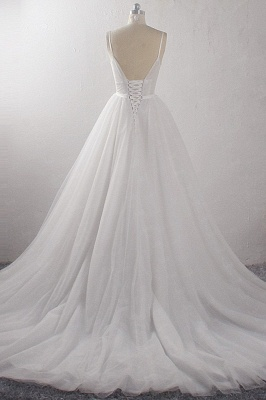 A-Line Deep-V-Neck Sleeveless Tulle Wedding Dresses_2