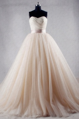 Ball Gown Strapless Sweetheart Tulle Wedding Dresses_1