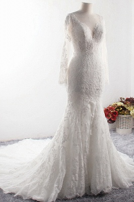 Long Sleeves Mermaid Appliques Tulle Lace Wedding Dresses_3