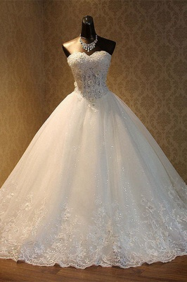 Strapless Tulle Sequined Ball Gown Wedding Dresses_1