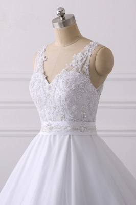 V-Neck Satin Tulle Lace White Sleeveless Bridal Gowns_5