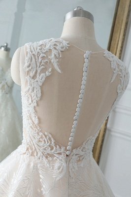 A-Line Jewel White Tulle Lace Bridal Gowns Online_6