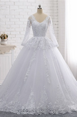 Long Sleeves Tulle Lace Ball Gown V-Neck Sequins Wedding Dress_1