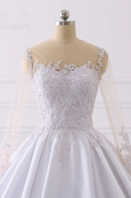 Satin Tulle Long Sleeves Ruffles Lace Bridal Gowns Online_4
