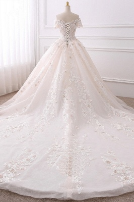 Ball Gown V-Neck Tulle Beadings Short Sleeves Bridal Gowns_2