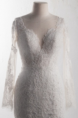 Long Sleeves Mermaid Appliques Tulle Lace Wedding Dresses_4